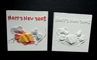 """Мини-панно из гипса """"Мышиный новый год"""", размер 10х10 см"""