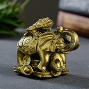 """Статуэтка """"Слон  на деньгах"""" состаренное золото"""