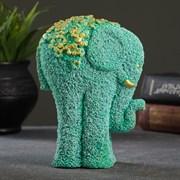 """Статуэтка """"Слон из цветов"""" бирюзовый с позолотой"""
